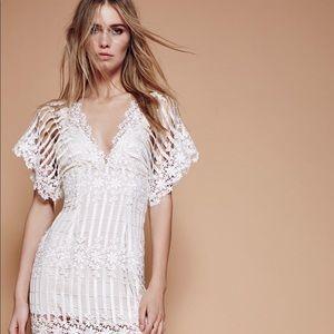 Free People | Lace Crochet white Maxi Dress